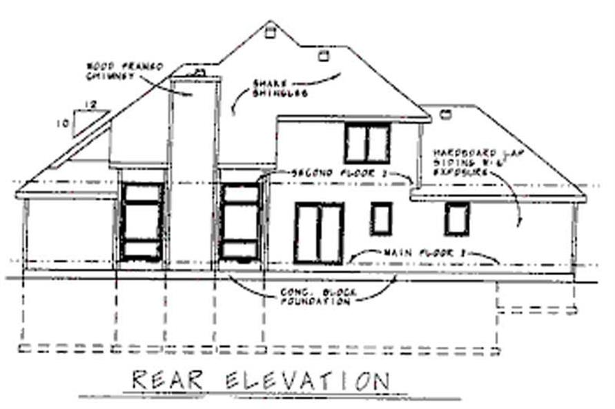 Home Plan Rear Elevation of this 4-Bedroom,1853 Sq Ft Plan -120-1164