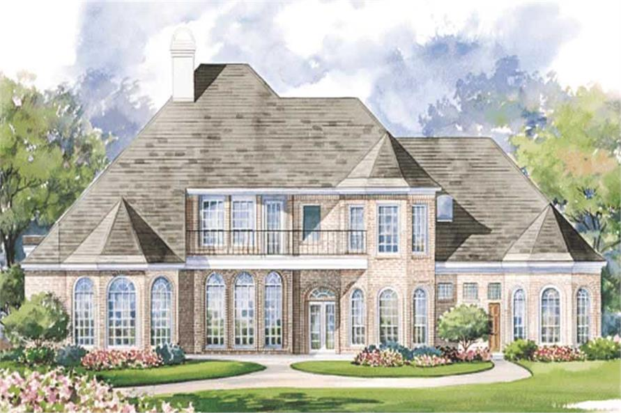 Home Plan Rear Elevation of this 4-Bedroom,4339 Sq Ft Plan -120-1165
