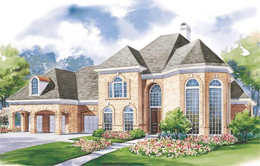 This image shows the front elevation of these European House Plans, French House Plans.