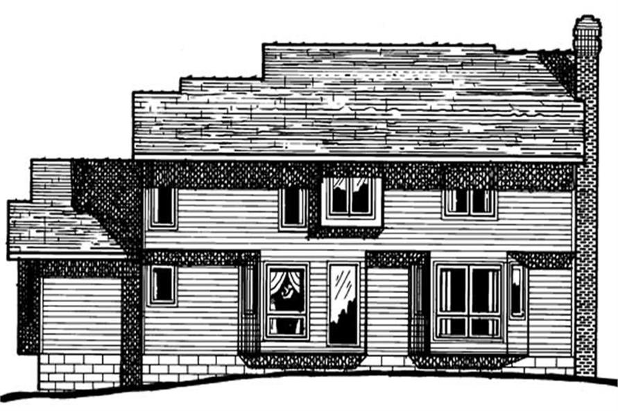 Home Plan Rear Elevation of this 4-Bedroom,2606 Sq Ft Plan -120-1179