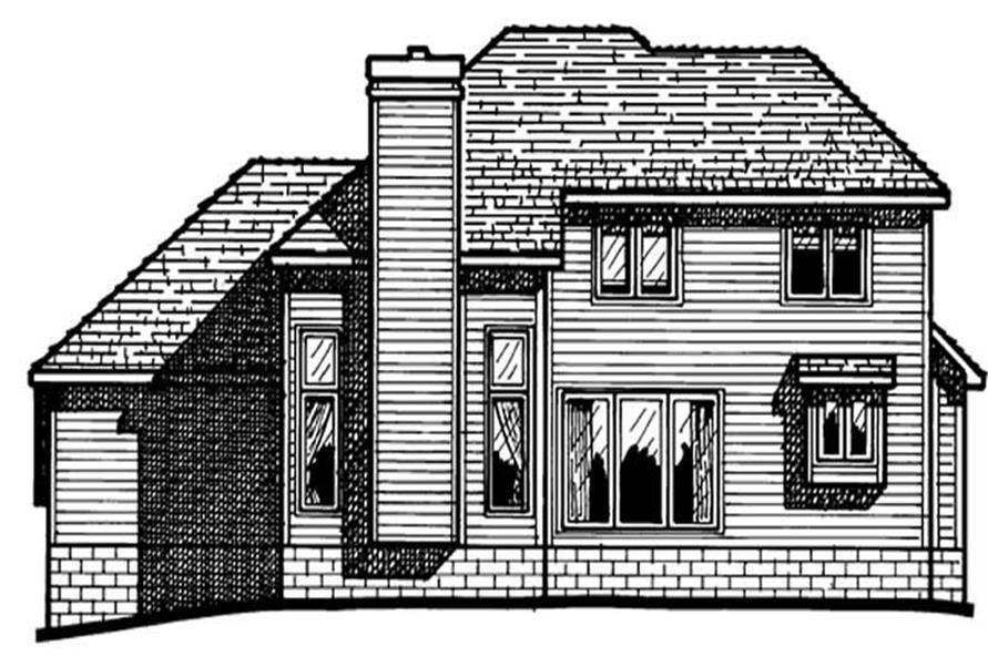 Home Plan Rear Elevation of this 4-Bedroom,1885 Sq Ft Plan -120-1192