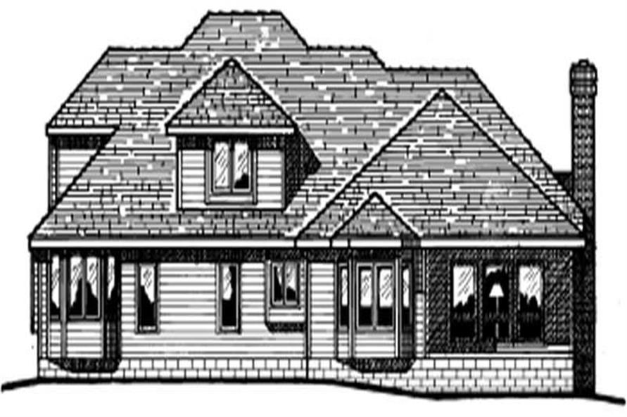Home Plan Rear Elevation of this 4-Bedroom,3067 Sq Ft Plan -120-1198