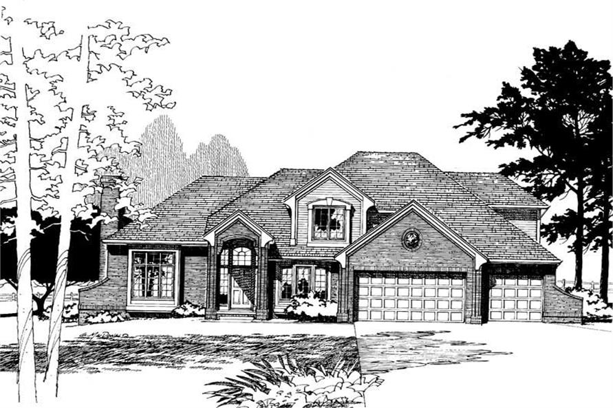 Front Elevation of this 4-Bedroom,3067 Sq Ft Plan -3067