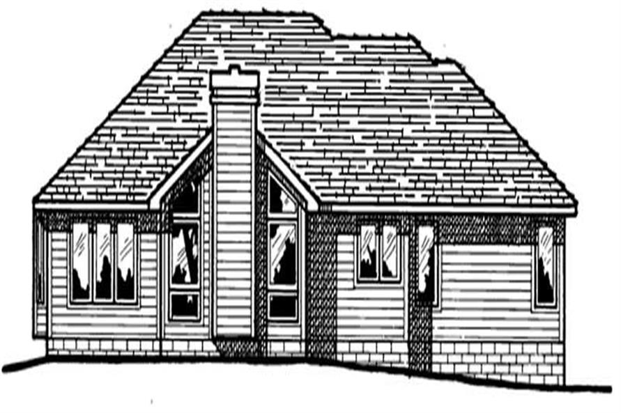 Home Plan Rear Elevation of this 3-Bedroom,1583 Sq Ft Plan -120-1199
