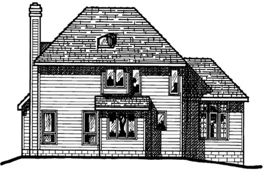 Home Plan Rear Elevation of this 3-Bedroom,1710 Sq Ft Plan -120-1205
