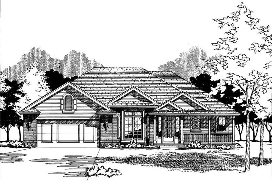 Front Elevation of this 3-Bedroom,1710 Sq Ft Plan -1710