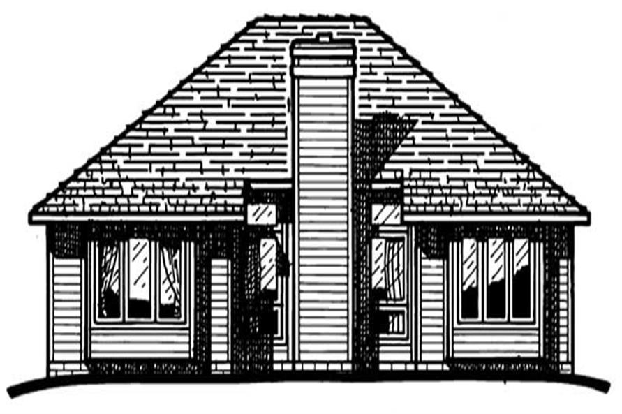 Home Plan Rear Elevation of this 2-Bedroom,1205 Sq Ft Plan -120-1207