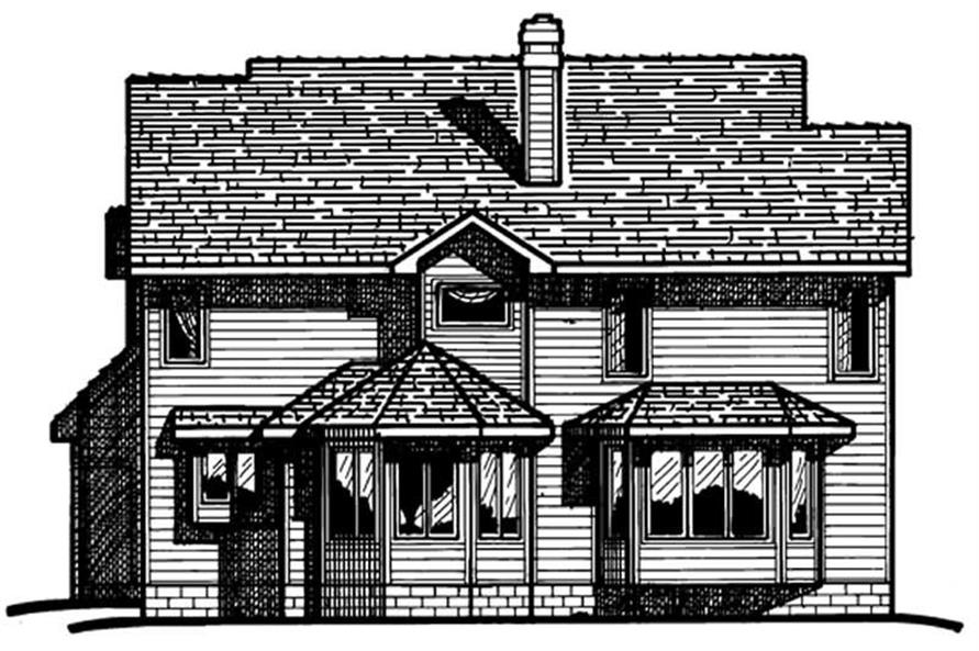 Home Plan Rear Elevation of this 4-Bedroom,2270 Sq Ft Plan -120-1209