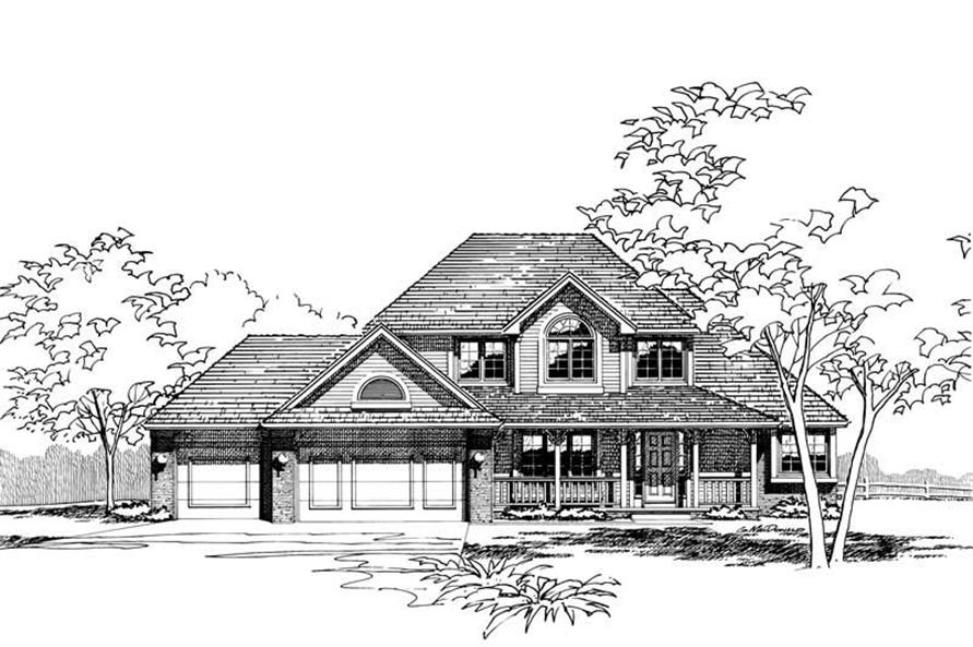 4-Bedroom, 2115 Sq Ft Country House Plan - 120-1213 - Front Exterior