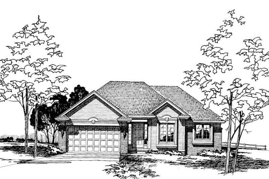 Front Elevation of this 3-Bedroom,1496 Sq Ft Plan -1496