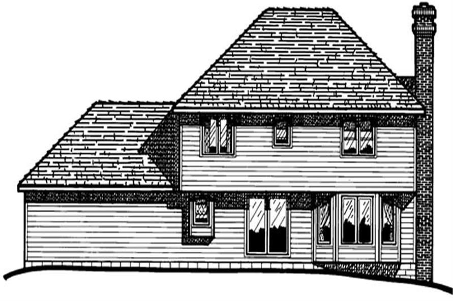 Home Plan Rear Elevation of this 4-Bedroom,2058 Sq Ft Plan -120-1216