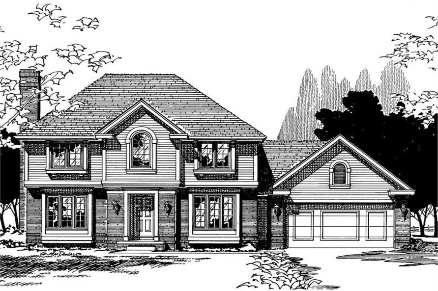 4-Bedroom, 2058 Sq Ft Traditional Home Plan - 120-1216 - Main Exterior