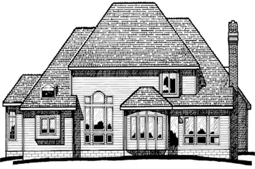 Home Plan Rear Elevation of this 4-Bedroom,3556 Sq Ft Plan -120-1218