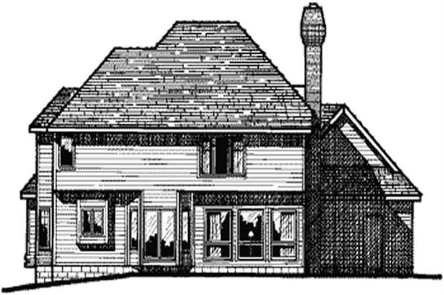 Home Plan Rear Elevation of this 4-Bedroom,2805 Sq Ft Plan -120-1242