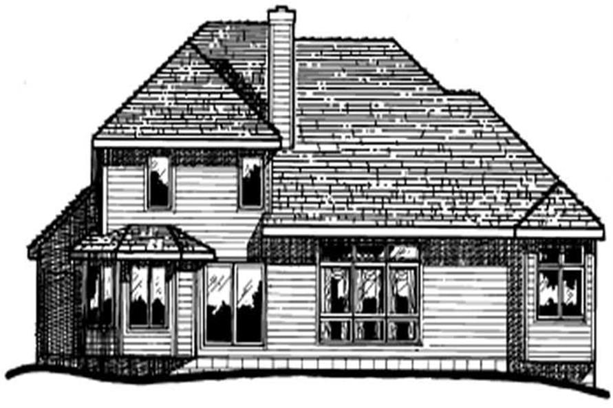 Home Plan Rear Elevation of this 4-Bedroom,2391 Sq Ft Plan -120-1245