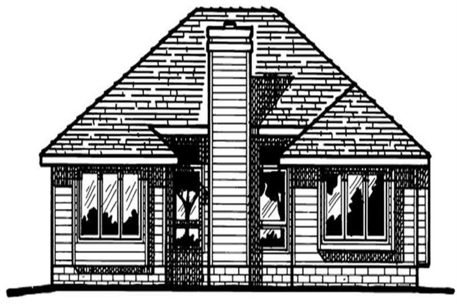 Home Plan Rear Elevation of this 3-Bedroom,1347 Sq Ft Plan -120-1249