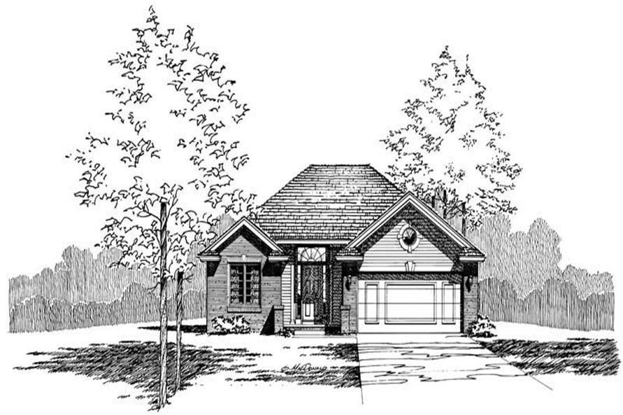 Front Elevation of this 3-Bedroom,1347 Sq Ft Plan -1347