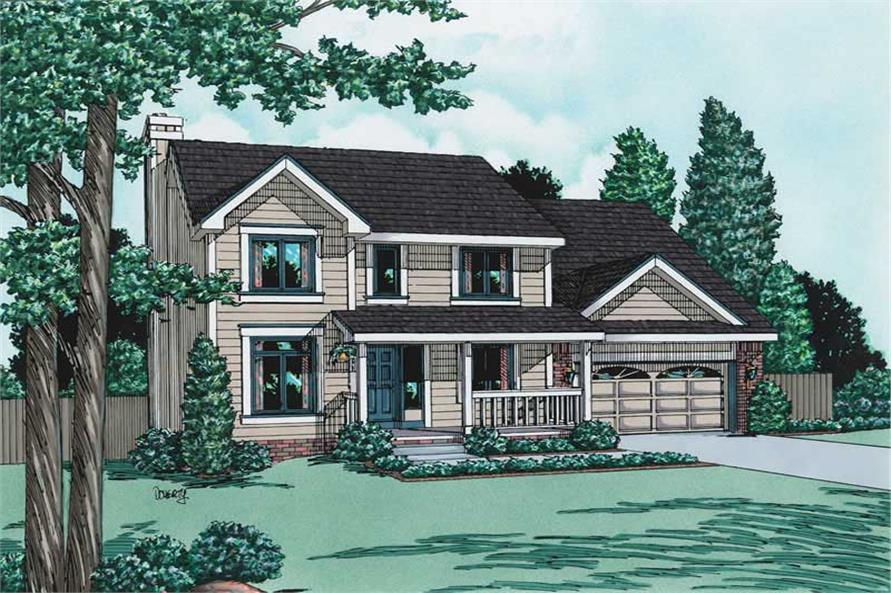 4-Bedroom, 1891 Sq Ft Country House Plan - 120-1256 - Front Exterior