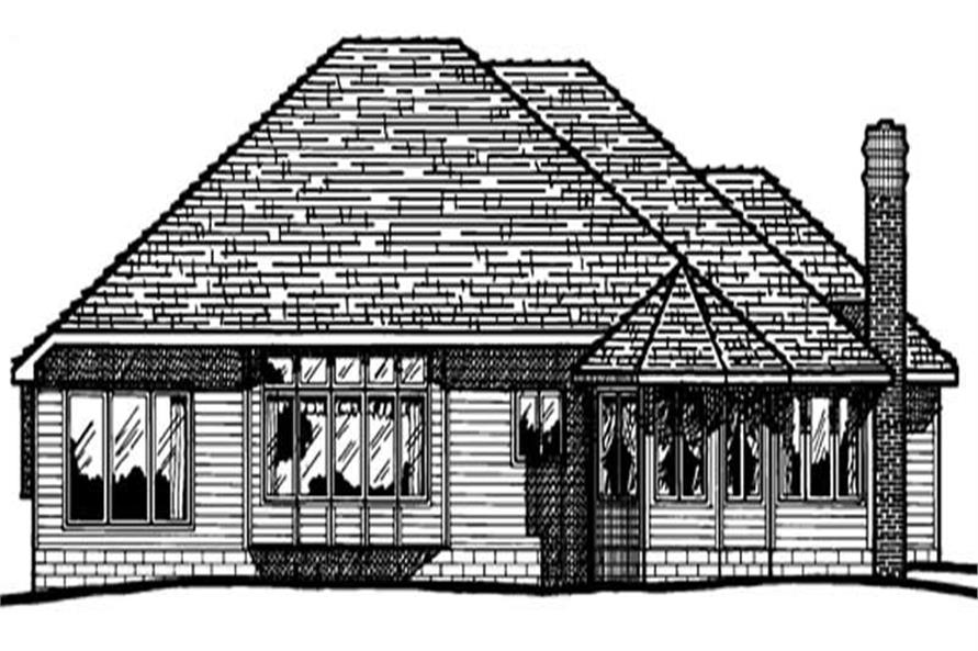 Home Plan Rear Elevation of this 3-Bedroom,1887 Sq Ft Plan -120-1268