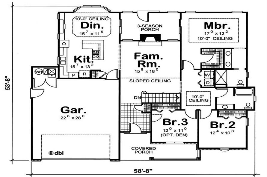 Alternate Floor Plan of this 3-Bedroom,1784 Sq Ft Plan -1784