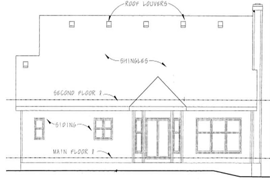 Home Plan Rear Elevation of this 3-Bedroom,1495 Sq Ft Plan -120-1273