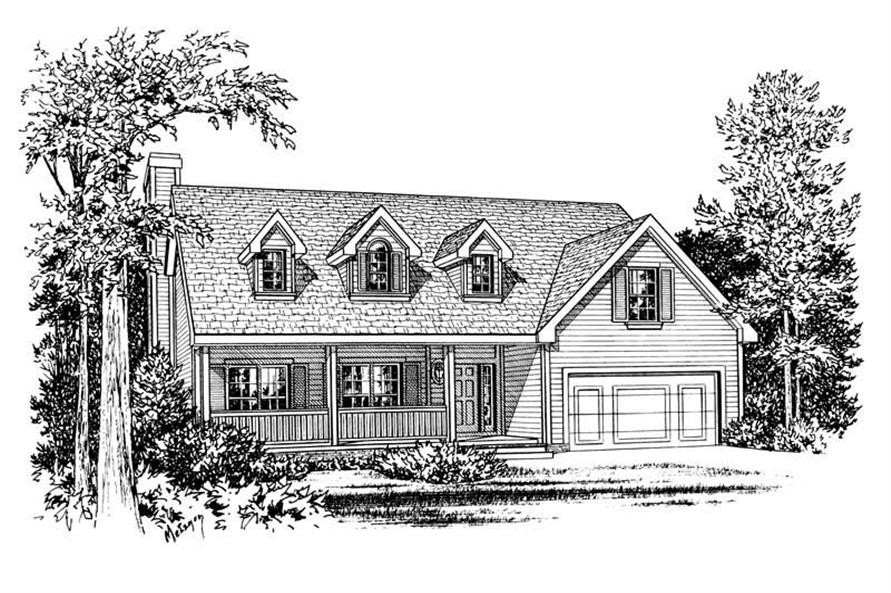 Front Elevation of this 3-Bedroom,1495 Sq Ft Plan -1495