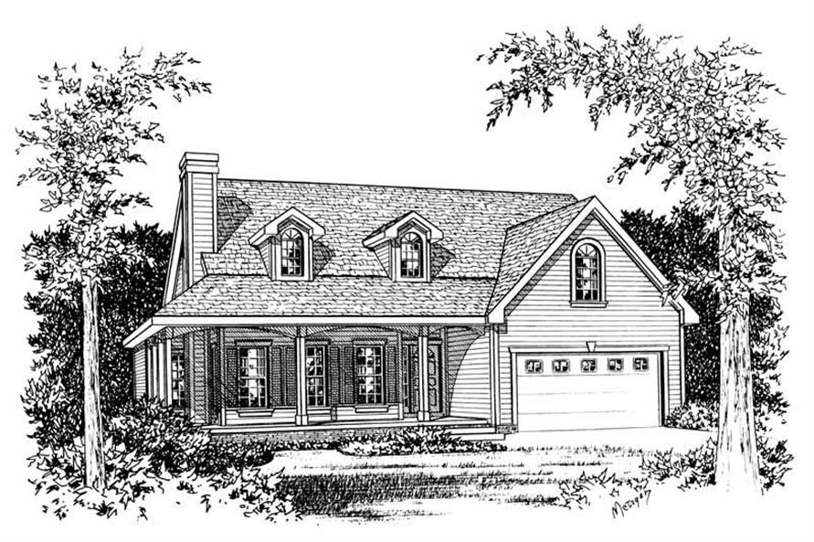 Front Elevation of this 3-Bedroom,1570 Sq Ft Plan -1570