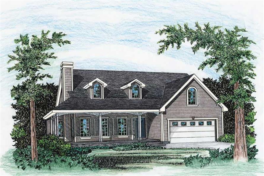3-Bedroom, 1570 Sq Ft Country House Plan - 120-1274 - Front Exterior