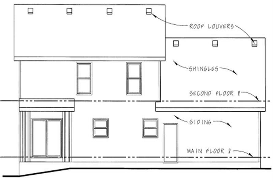 Home Plan Rear Elevation of this 3-Bedroom,1389 Sq Ft Plan -120-1276