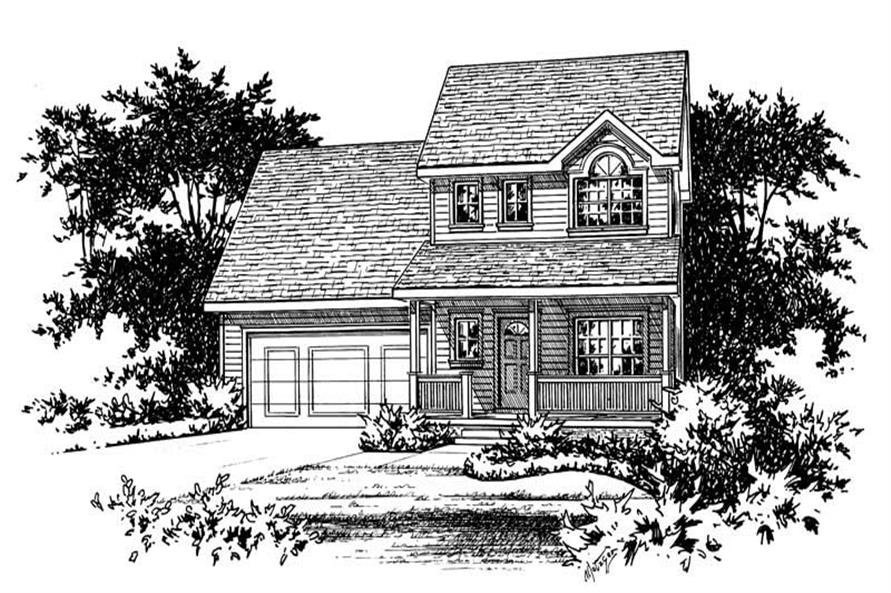 Front Elevation of this 3-Bedroom,1389 Sq Ft Plan -1389