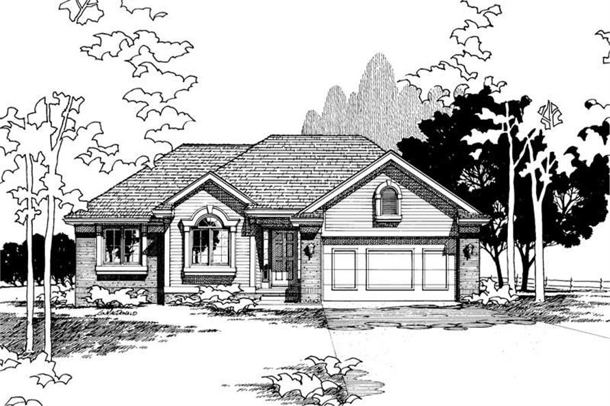 Front Elevation of this 3-Bedroom,1341 Sq Ft Plan -1341