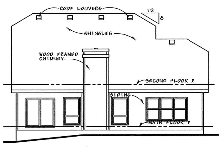 Home Plan Rear Elevation of this 3-Bedroom,1699 Sq Ft Plan -120-1280