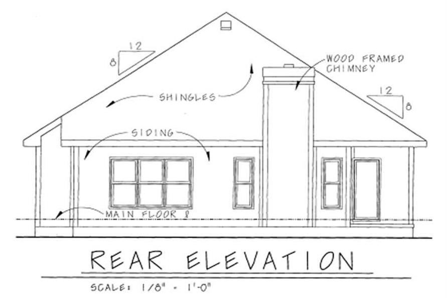 Home Plan Rear Elevation of this 1-Bedroom,1344 Sq Ft Plan -120-1282