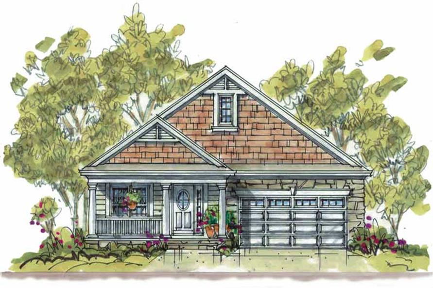 1-Bedroom, 1344 Sq Ft Small House Plans - 120-1282 - Main Exterior