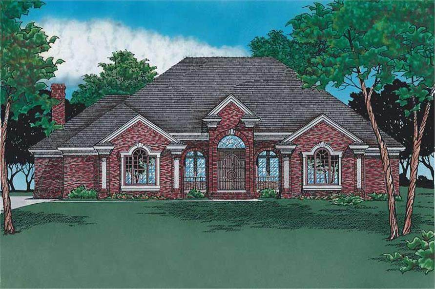 Front elevation of French home (ThePlanCollection: House Plan #120-1291)