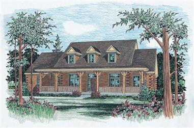4-Bedroom, 3110 Sq Ft Log Cabin House Plan - 120-1294 - Front Exterior