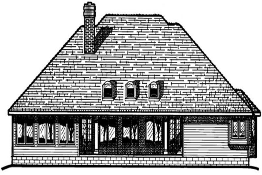 Home Plan Rear Elevation of this 3-Bedroom,2456 Sq Ft Plan -120-1295