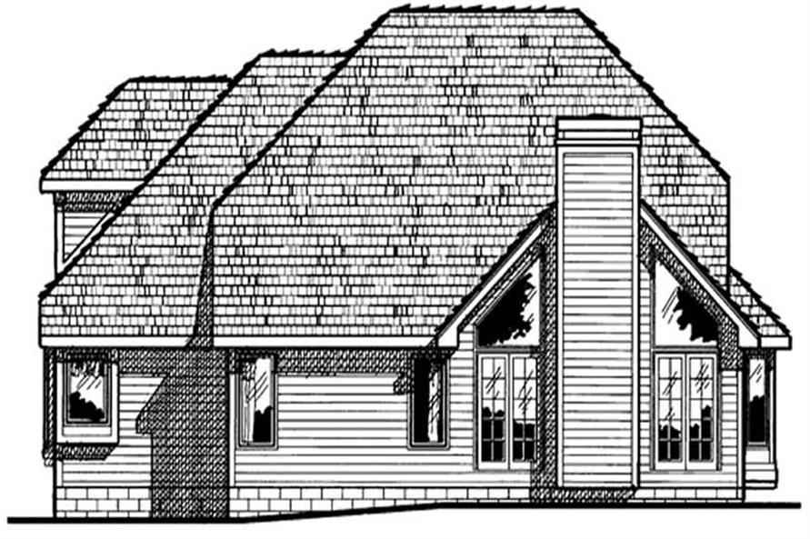 Home Plan Rear Elevation of this 4-Bedroom,2403 Sq Ft Plan -120-1300