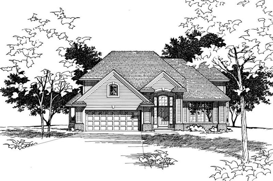 4-Bedroom, 2403 Sq Ft Traditional House Plan - 120-1300 - Front Exterior