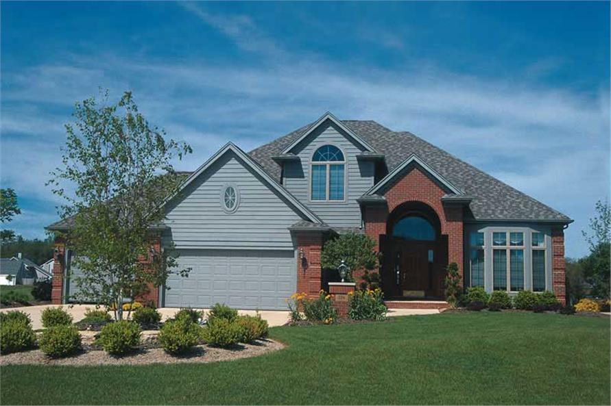 4-Bedroom, 2603 Sq Ft European House Plan - 120-1308 - Front Exterior