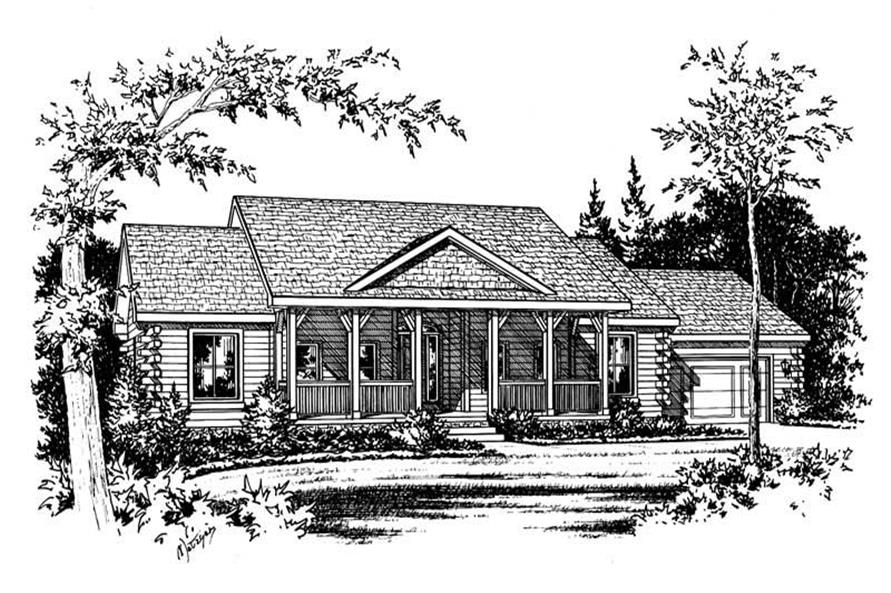 3-Bedroom, 2164 Sq Ft Log Cabin House Plan - 120-1309 - Front Exterior