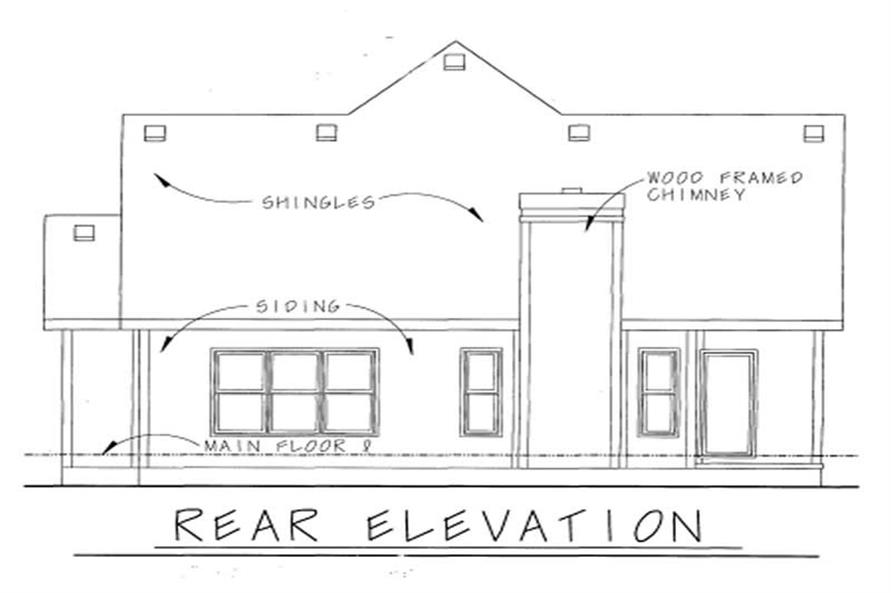 Home Plan Rear Elevation of this 2-Bedroom,1344 Sq Ft Plan -120-1311