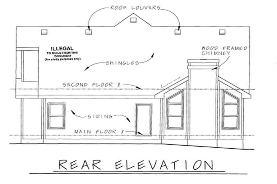 Home Plan Rear Elevation of this 4-Bedroom,2126 Sq Ft Plan -120-1312