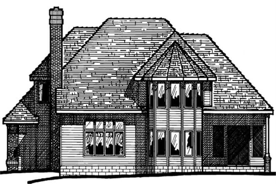 Home Plan Rear Elevation of this 4-Bedroom,3057 Sq Ft Plan -120-1320