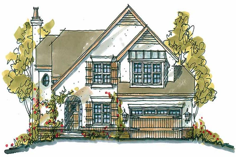 4-Bedroom, 2363 Sq Ft European Home Plan - 120-1321 - Main Exterior