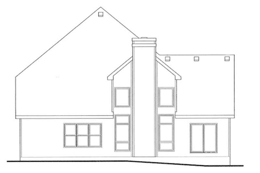 Home Plan Rear Elevation of this 4-Bedroom,2552 Sq Ft Plan -120-1326