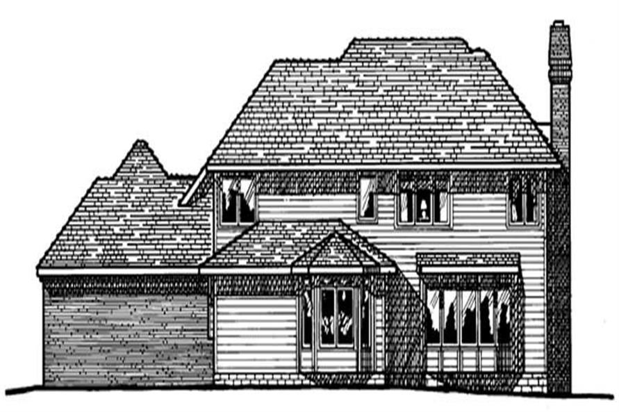 Home Plan Rear Elevation of this 4-Bedroom,3337 Sq Ft Plan -120-1331