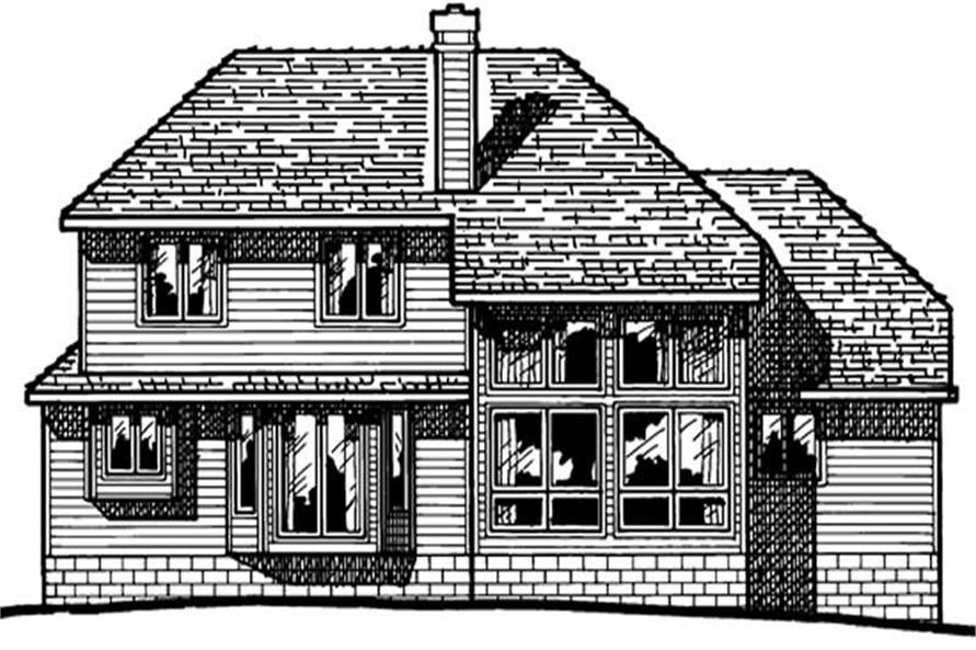Home Plan Rear Elevation of this 4-Bedroom,1999 Sq Ft Plan -120-1334