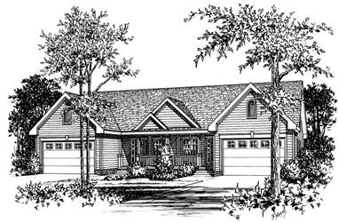 3-Bedroom, 1311 Sq Ft Multi-Unit Home Plan - 120-1340 - Main Exterior