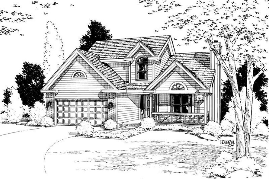 Home Plan Rendering of this 3-Bedroom,1642 Sq Ft Plan -120-1343